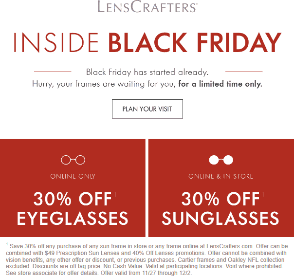 Lenscrafters Coupon December 2019 30% off sunglasses at Lenscrafters, ditto online