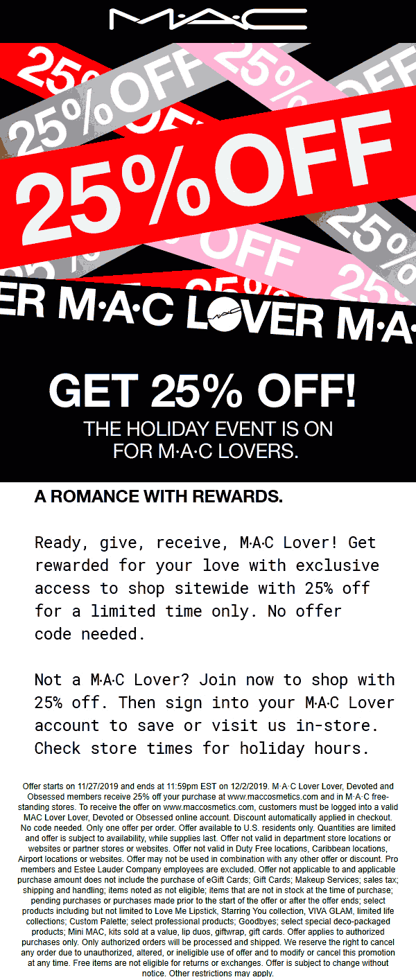 MAC Coupon January 2020 25% off at MAC cosmetics, ditto online