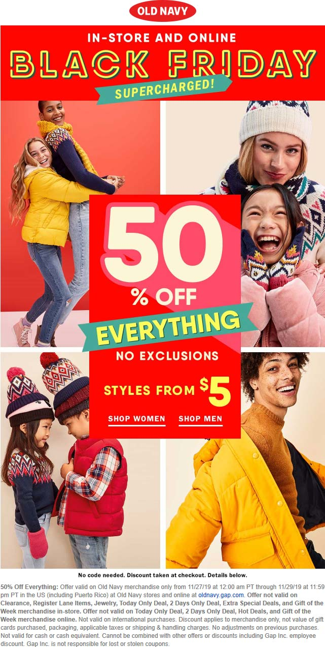 Old Navy Coupon December 2019 50% off everything at Old Navy, ditto online