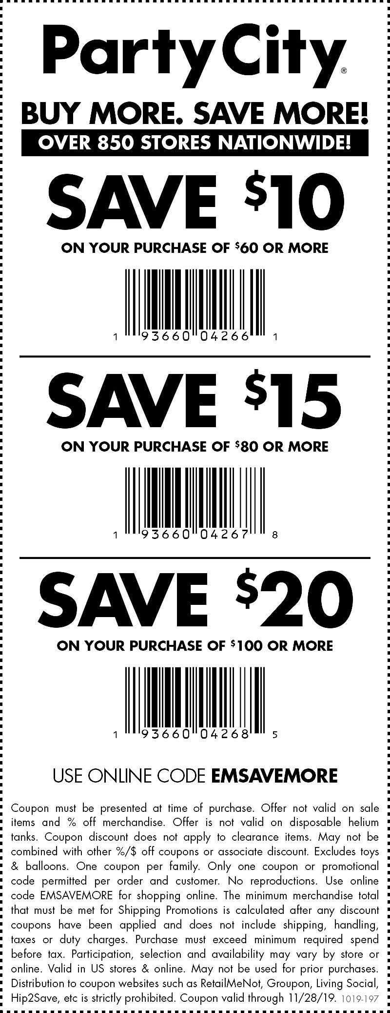 Party City Coupon January 2020 $10 off $60 & more at Party City, or online via promo code EMSAVEMORE