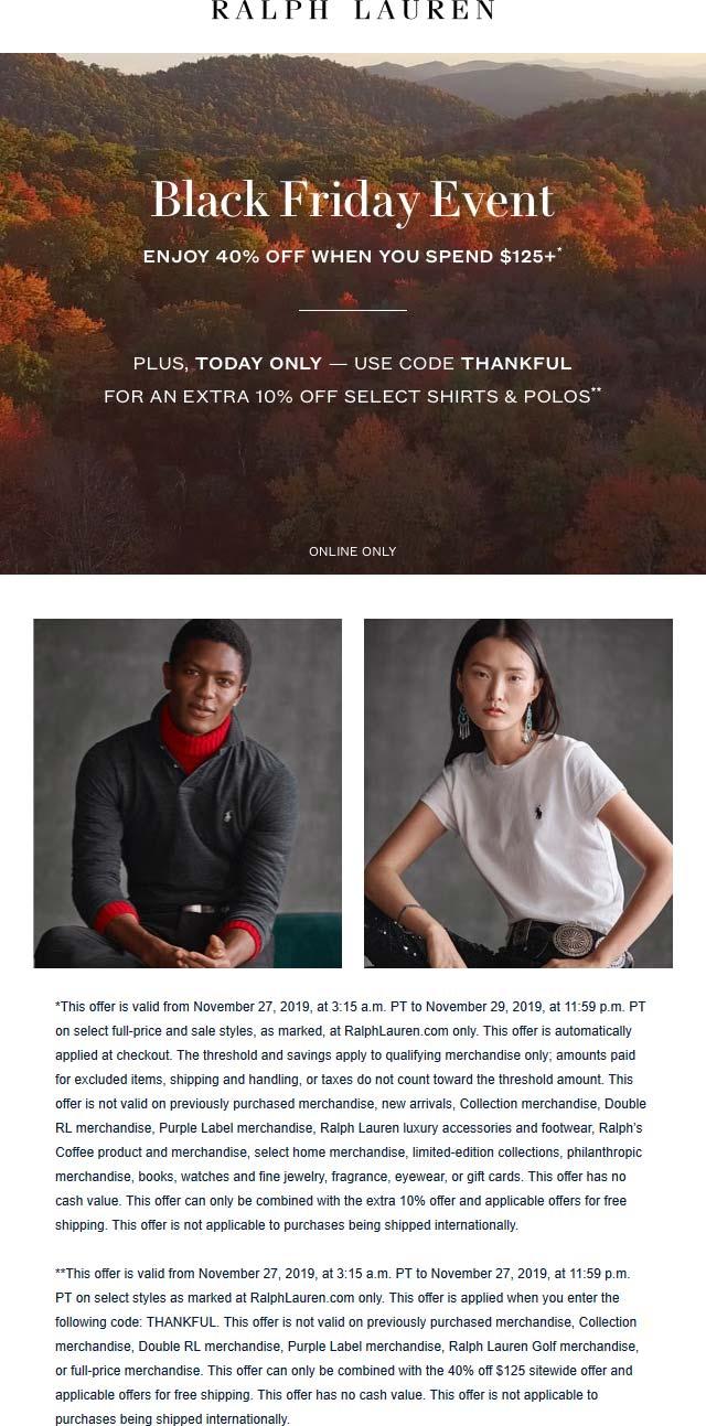Ralph Lauren Coupon December 2019 40% off online at Ralph Lauren via promo code THANKFUL
