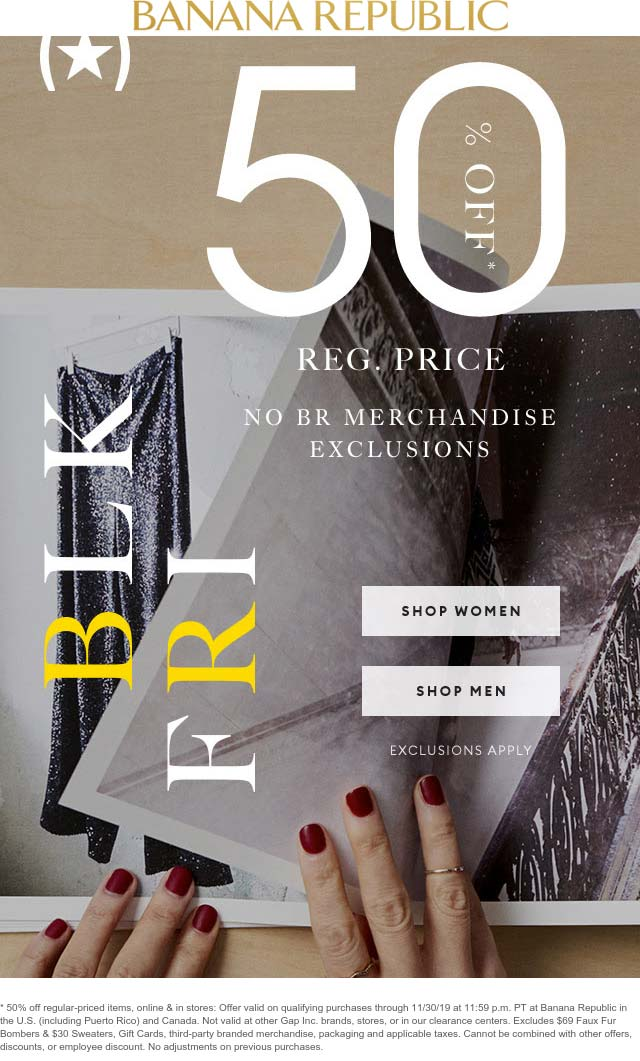 Banana Republic Coupon January 2020 50% off at Banana Republic, ditto online