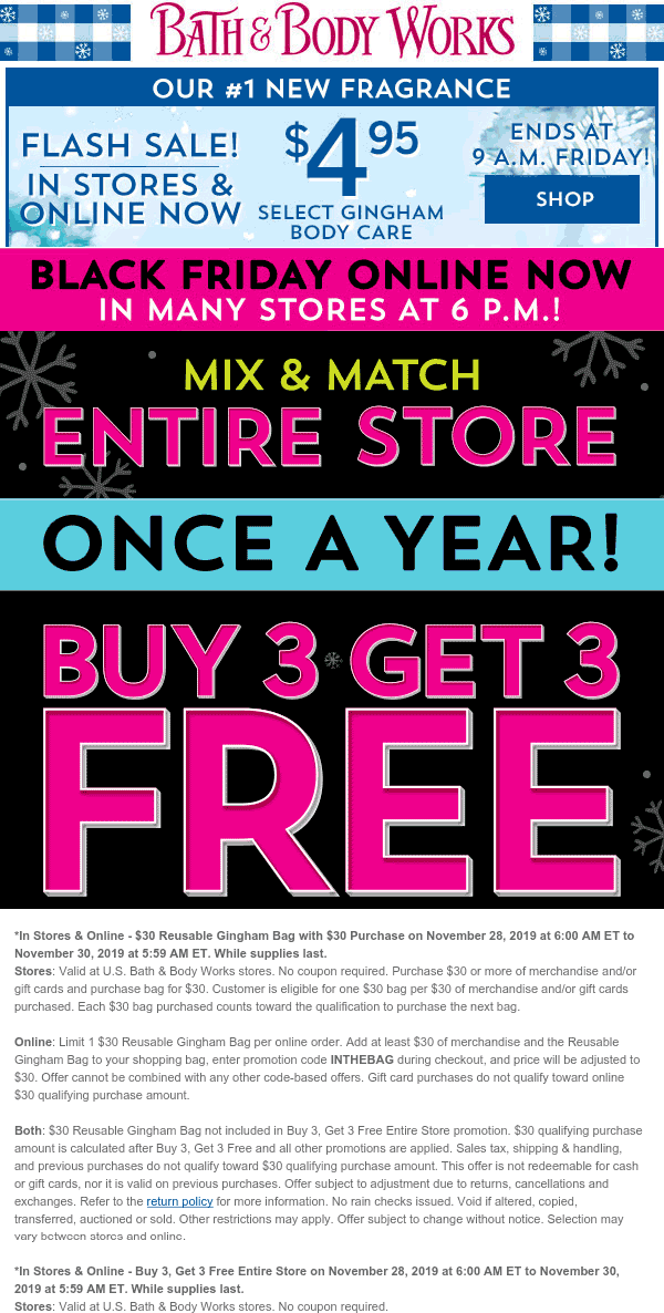 Bath & Body Works Coupon January 2020 6-for-3 on everything at Bath & Body Works, ditto online