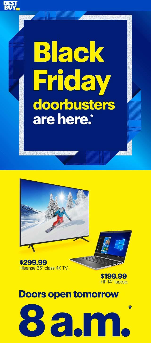 Best Buy Coupon December 2019 $300 65in 4k & $200 HP laptop doorbusters at Best Buy