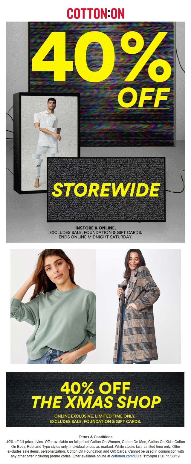 Cotton On Coupon December 2019 40% off everything at Cotton On, ditto online