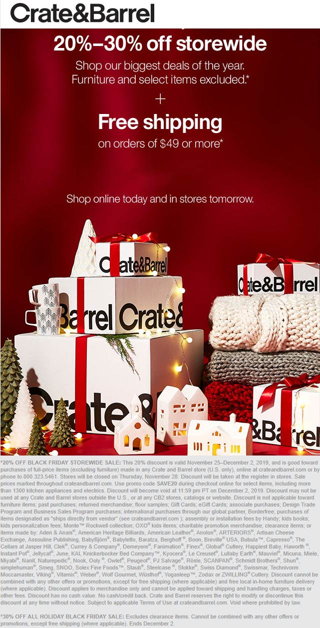 Crate & Barrel Coupon January 2020 20-30% off everything at Crate & Barrel, or online via promo code SAVE20