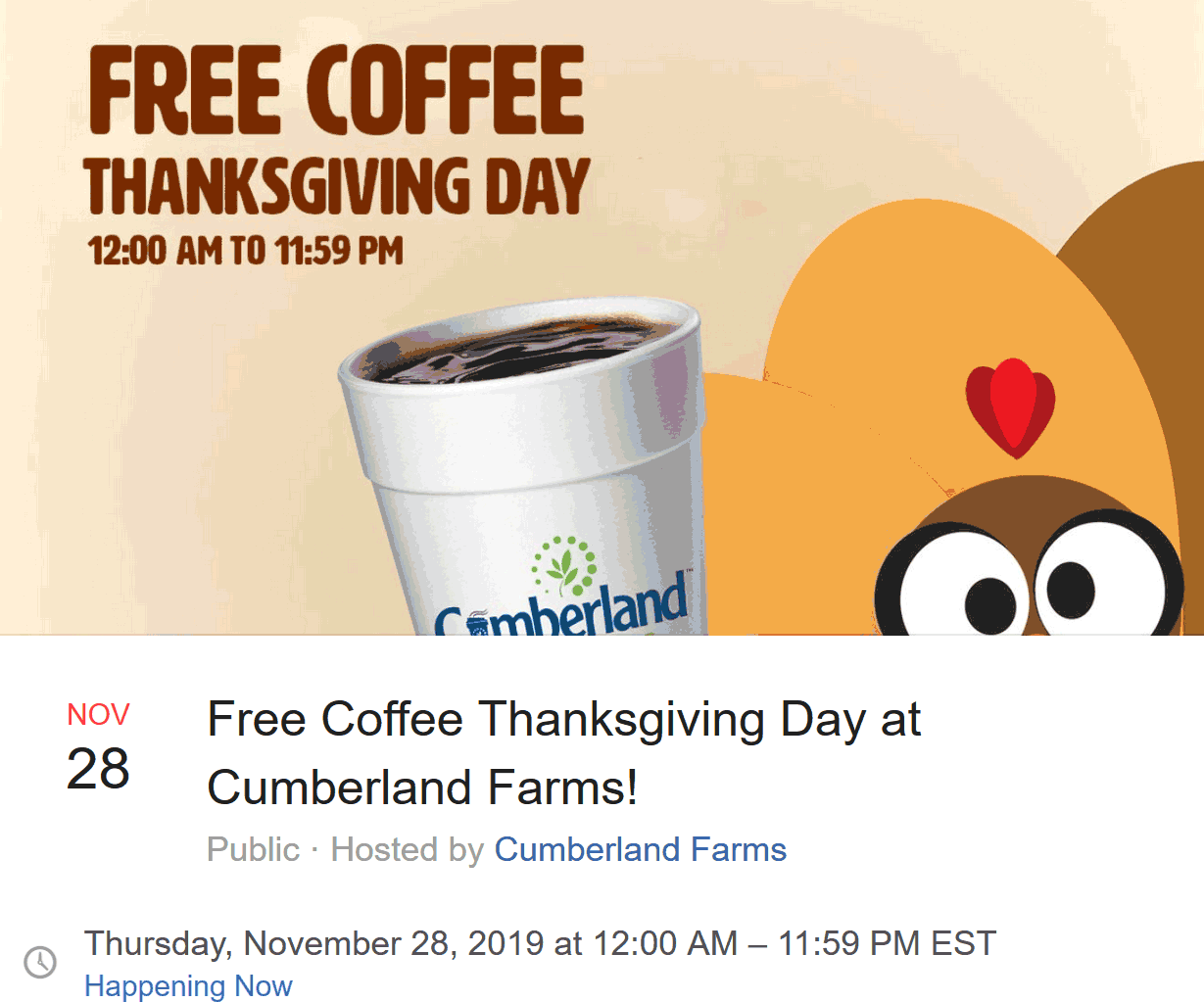 Cumberland Farms Coupon January 2020 Free coffee today til 12p at Cumberland Farms gas stations