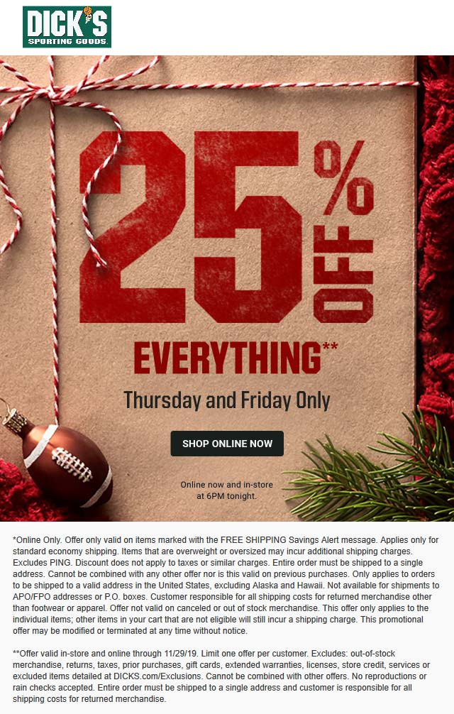 Dicks Coupon January 2020 25% off everything at Dicks sporting goods, ditto online