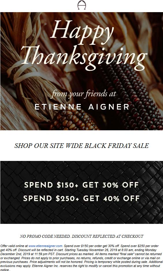 Etienne Aigner Coupon December 2019 30-40% off online at Etienne Aigner