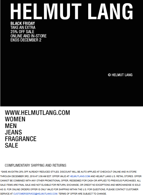 Helmut Lang Coupon January 2020 Extra 25% off at Helmut Lang, ditto online