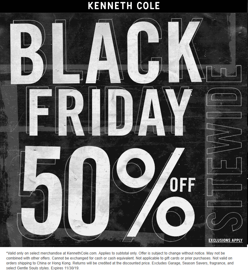 Kenneth Cole Coupon January 2020 50% off everything online at Kenneth Cole