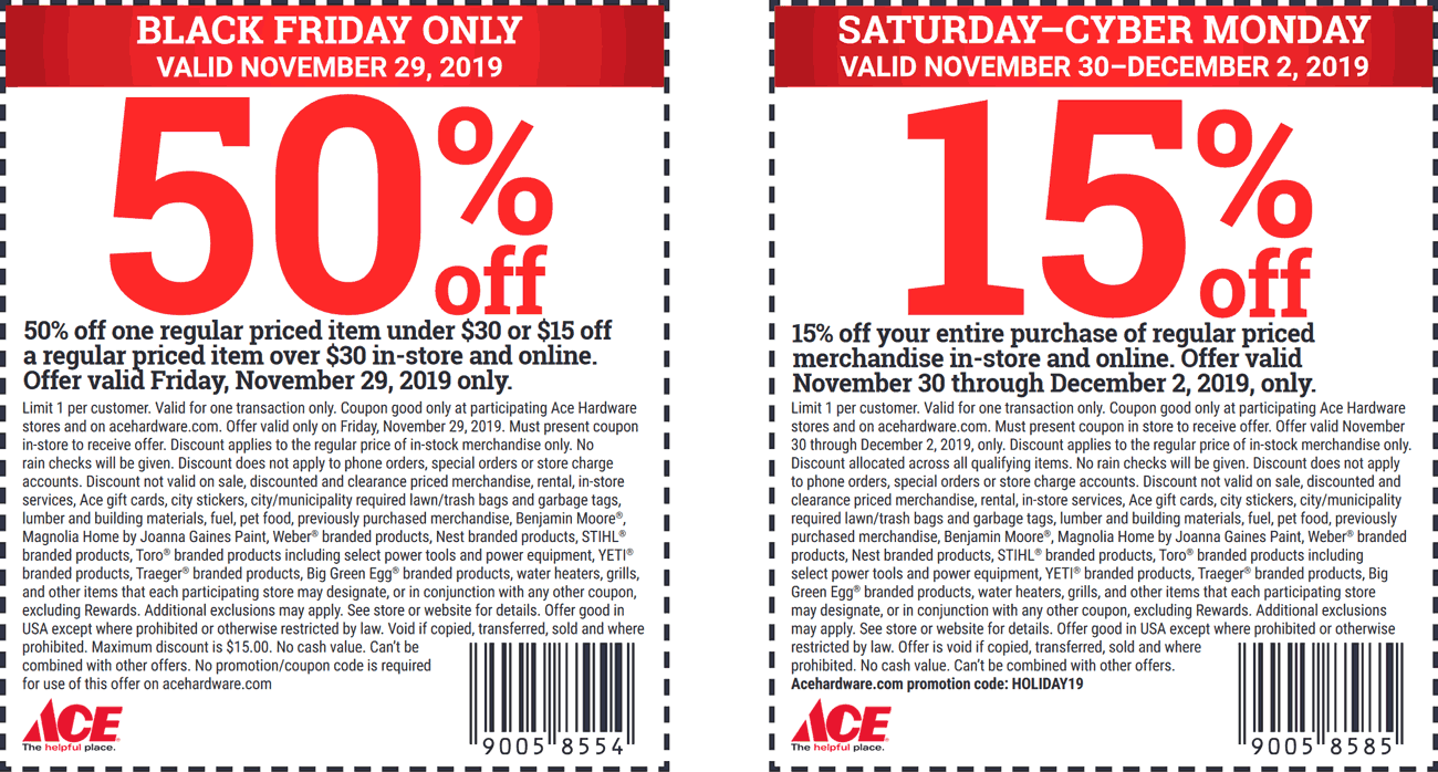 Ace Hardware Coupon December 2019 50% off a single item & more at Ace Hardware
