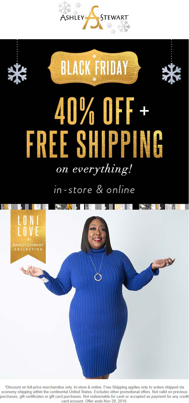 Ashley Stewart Coupon January 2020 40% off everything today at Ashley Stewart, ditto online