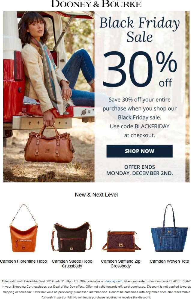 Dooney & Bourke Coupon January 2020 30% off online at Dooney & Bourke via promo code BLACKFRIDAY