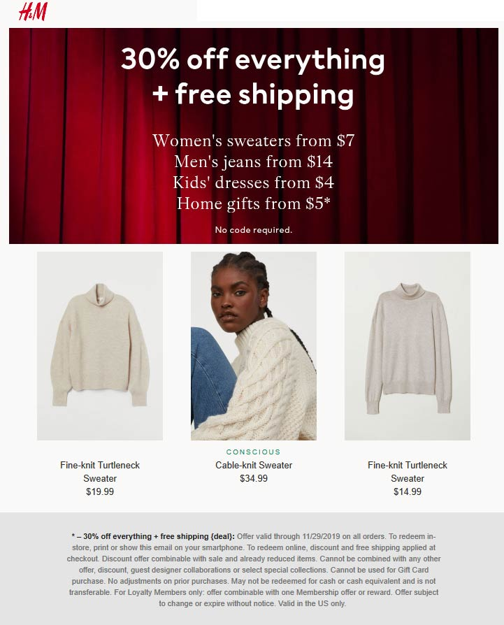 H&M Coupon January 2020 30% off everything today at H&M, ditto online