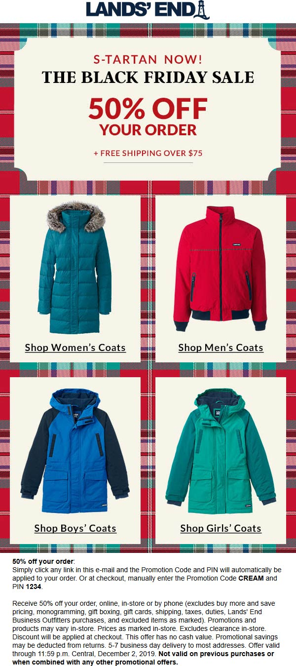 Lands End Coupon January 2020 50% off at Lands End, or online via promo code CREAM and pin 1234