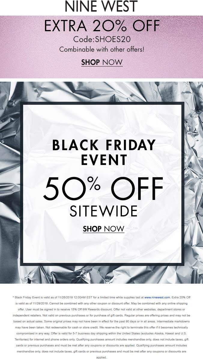 Nine West Coupon January 2020 70% off everything online today at Nine West via promo code SHOES20