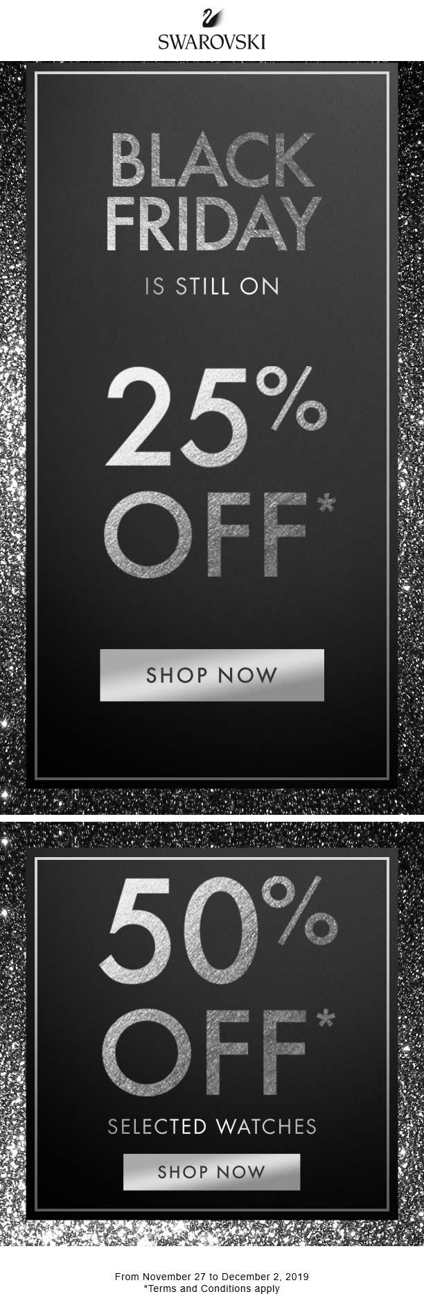 Swarovski Coupon January 2020 25% off at Swarovski, ditto online