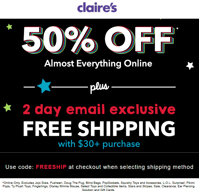 Claires Coupon January 2020 50% off online at Claires via promo code FREESHIP