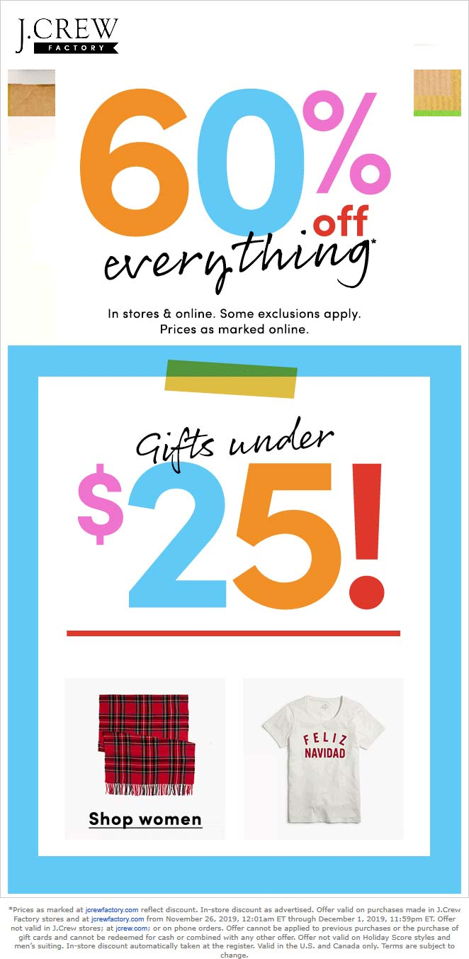 J.Crew Factory Coupon December 2019 60% off everything at J.Crew Factory, ditto online
