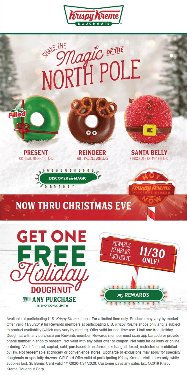 Krispy Kreme Coupon December 2019 Free doughnut with any order today at Krispy Kreme