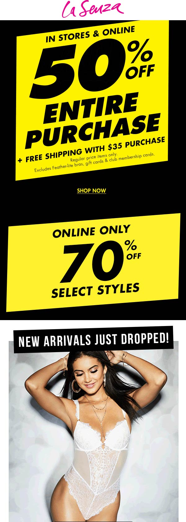 La Senza Coupon January 2020 50% off everything at La Senza, ditto online