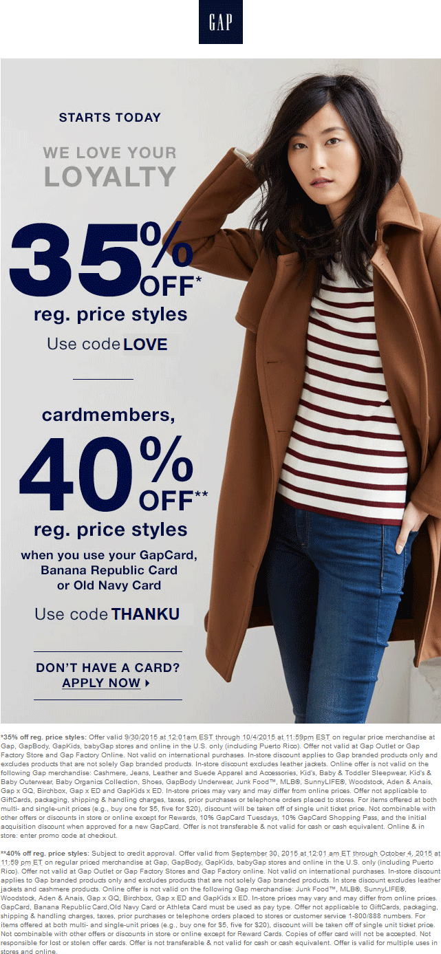 Gap Coupon January 2019 35% off at Gap, GapBody, GapKids & babyGap, or online via promo code LOVE