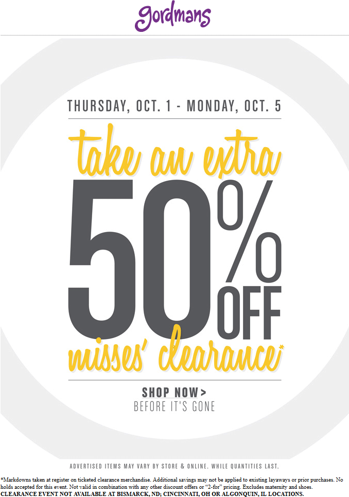 Gordmans Coupon April 2018 Extra 50% off misses clearance at Gordmans