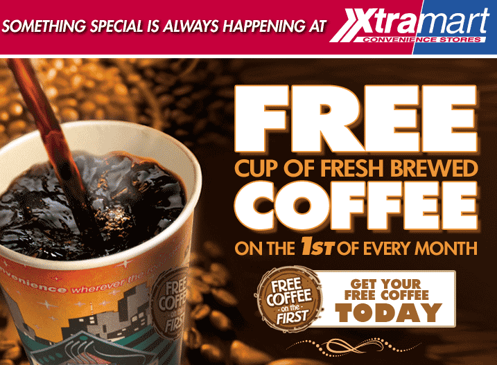 Xtra Mart Coupon June 2017 Free coffee today at Xtra Mart gas stations