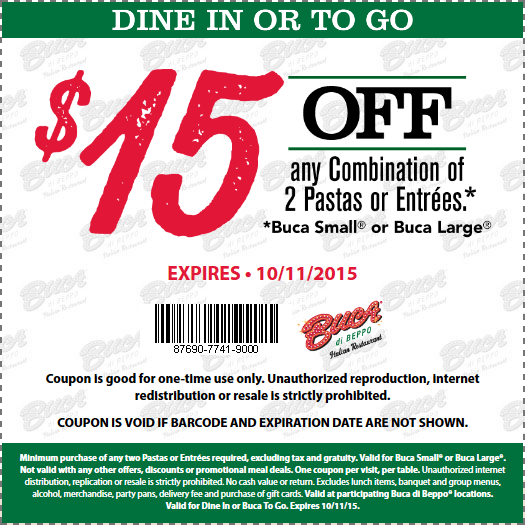 Buca di Beppo Coupon October 2016 $15 off a couple entrees at Buca di Beppo Italian restaurants