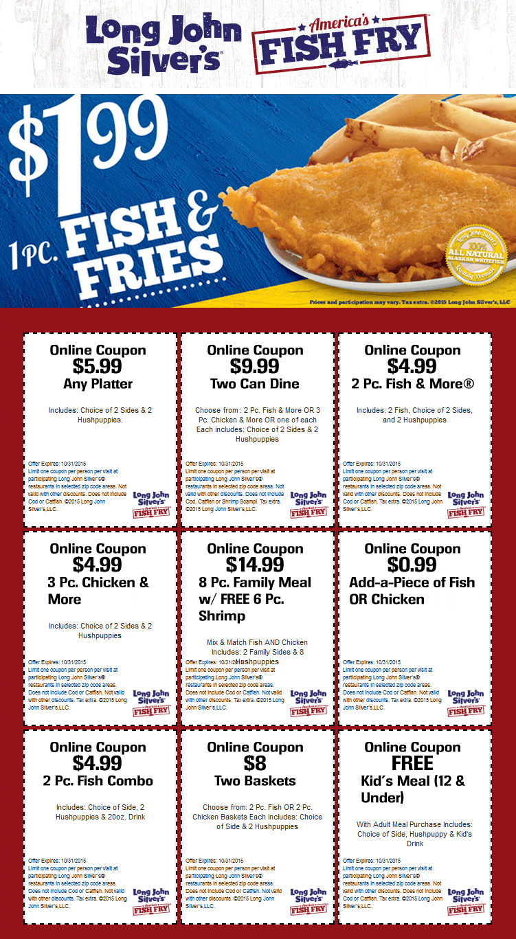 Long John Silvers Coupon October 2017 $2 Fish & fries, free kids meal & more at Long John Silvers