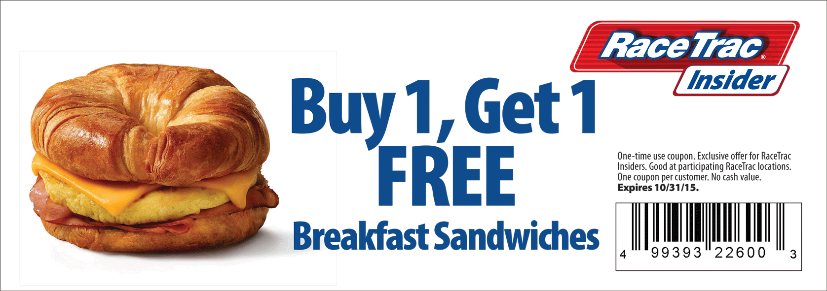 RaceTrac Coupon July 2017 Second breakfast sandwich free at RaceTrac gas stations