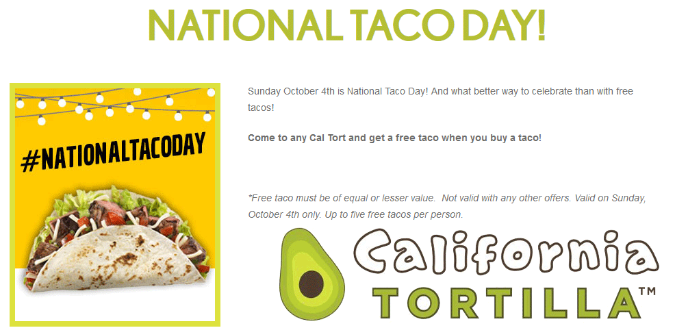 California Tortilla Coupon March 2019 2-for-1 tacos Sunday at California Tortilla