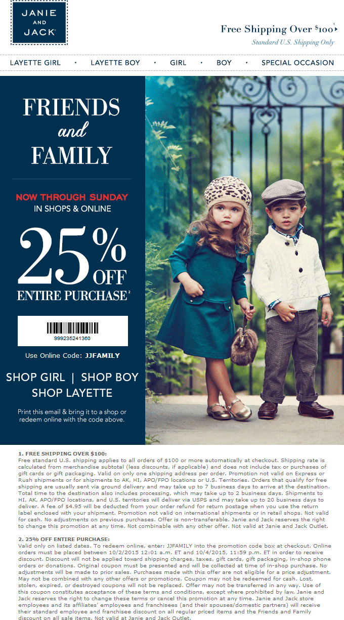 Janie and Jack Coupon February 2019 25% off at Janie and Jack, or online via promo code JJFAMILY