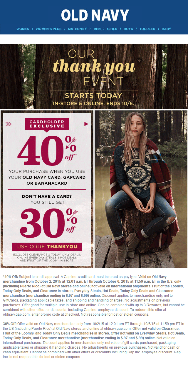 Old Navy Coupon January 2017 30% off at Old Navy, or online via promo code THANKYOU