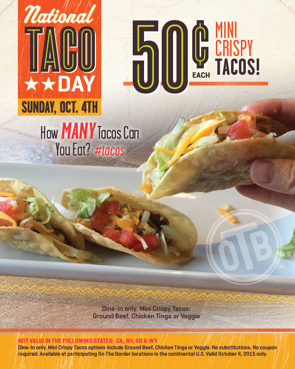 On The Border Coupon September 2018 50 cent mini-tacos Sunday at On The Border restaurants