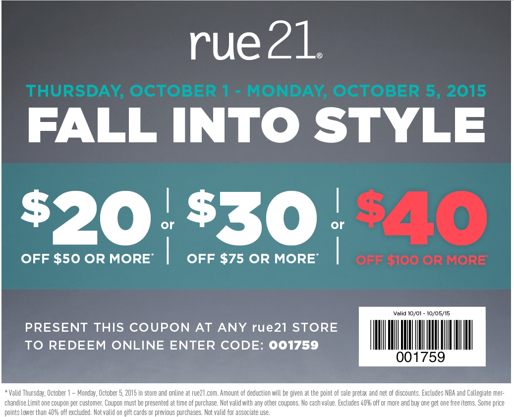 Rue21 Coupon May 2017 $20 off $50 & more at rue21, or online via promo code 001759