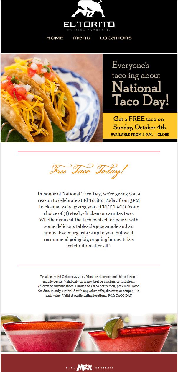 El Torito Coupon January 2017 Free taco today at El Torito restaurants