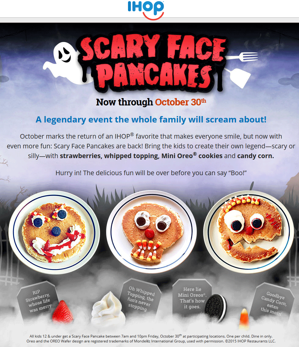 IHOP Coupon January 2017 Free scary face pancake for kids the 30th at IHOP