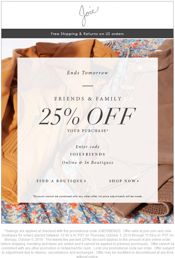Joie Coupon May 2017 25% off at Joie, or online via promo code JOIEFRIENDS