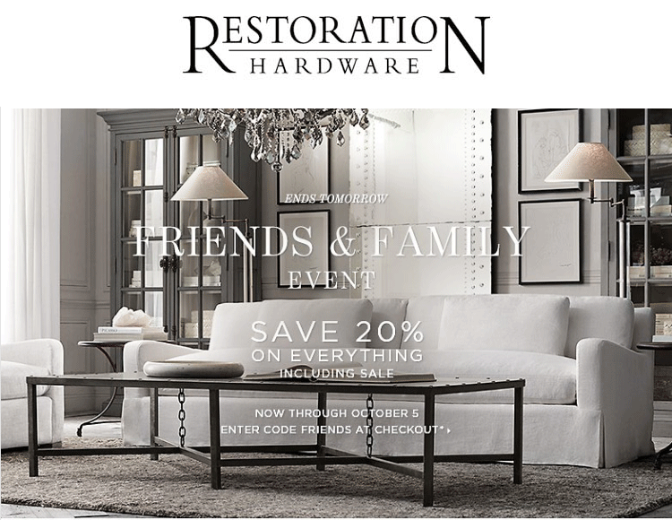 Restoration Hardware Coupon October 2016 20% off everything at Restoration Hardware, or online via promo code FRIENDS