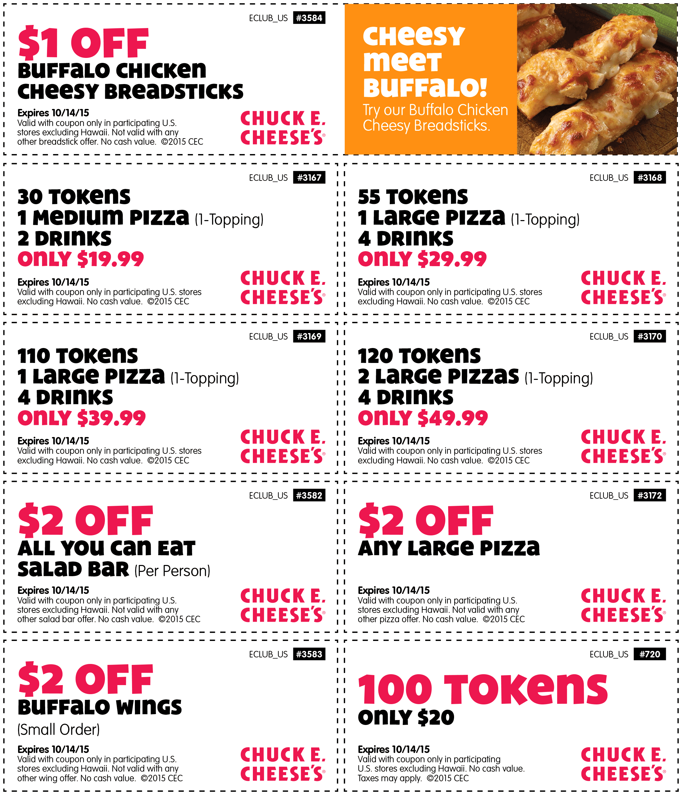 Chuck E. Cheese Coupon January 2017 30 tokens + a pizza + drinks = $20 & more at Chuck E. Cheese