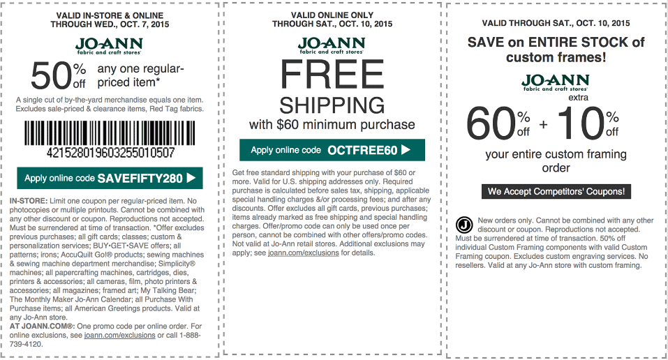 Jo-Ann Fabric Coupon June 2017 50% off a single item at Jo-Ann Fabric, or online via promo code SAVEFIFTY280