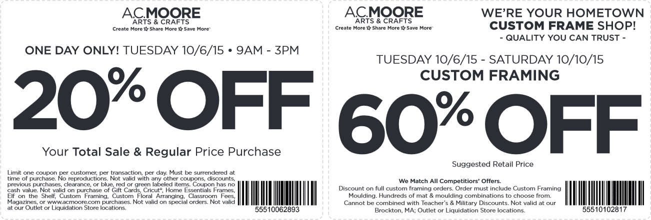 A.C. Moore Coupon May 2018 20% off everything today at A.C. Moore