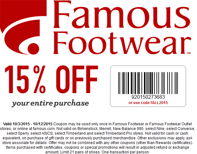 Famous Footwear Coupon January 2018 15% off at Famous Footwear, or online via promo code FALL2015
