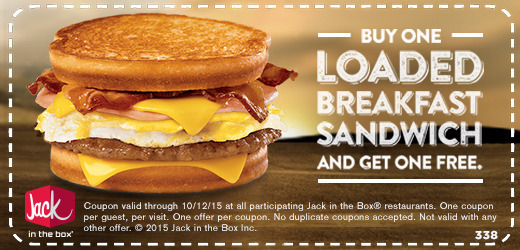 Jack in the Box Coupon January 2018 Second loaded breakfast sandwich free at Jack in the Box