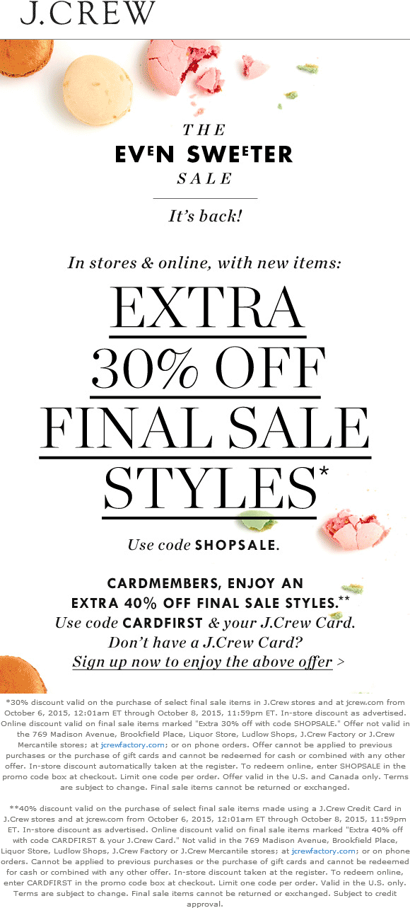 J.Crew Coupon October 2016 Extra 30% off clearance at J.Crew, or online via promo code SHOPSALE