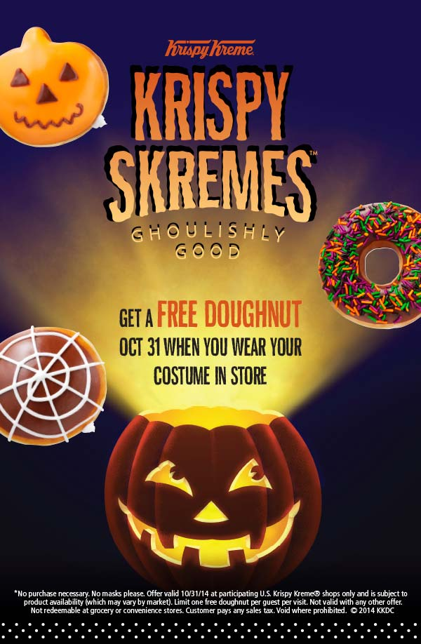 Krispy Kreme Coupon October 2018 Free doughnut in costume Halloween at Krispy Kreme
