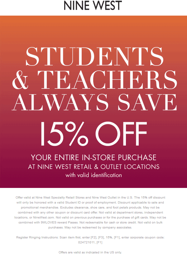 Nine West Coupon January 2017 Students and teachers enjoy 15% off at Nine West & outlet locations