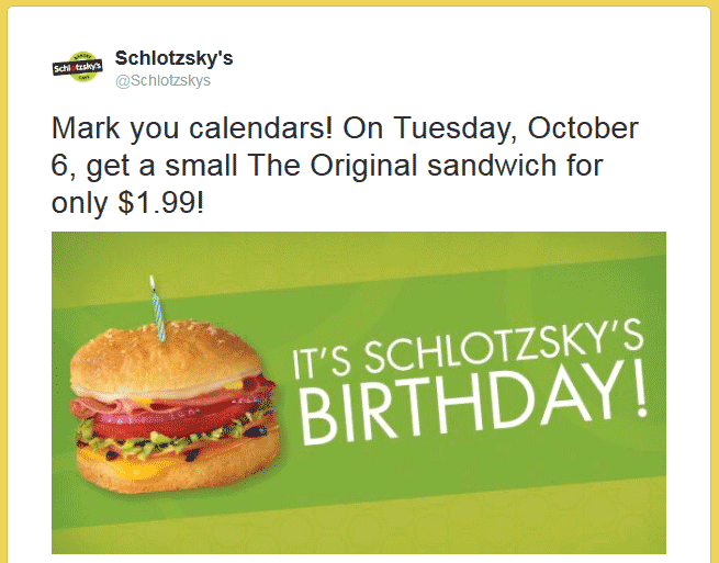 Schlotzskys Coupon March 2018 $2 sandwich today at Schlotzskys bakery cafe